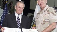 Tommy Franks and Donald Rumsfeld