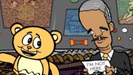 eric holder standing next to a cartoon bear