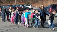 students in line at Sandy Hook Elementary
